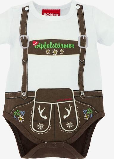BONDI BONDI Trachtenbody Baby im Lederhosen-Look in braun / weiß, Produktansicht