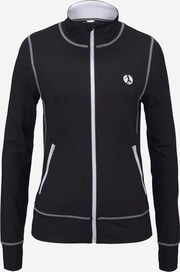 Bluză cu fermoar sport LASCANA ACTIVE pe negru / alb, Vizualizare produs