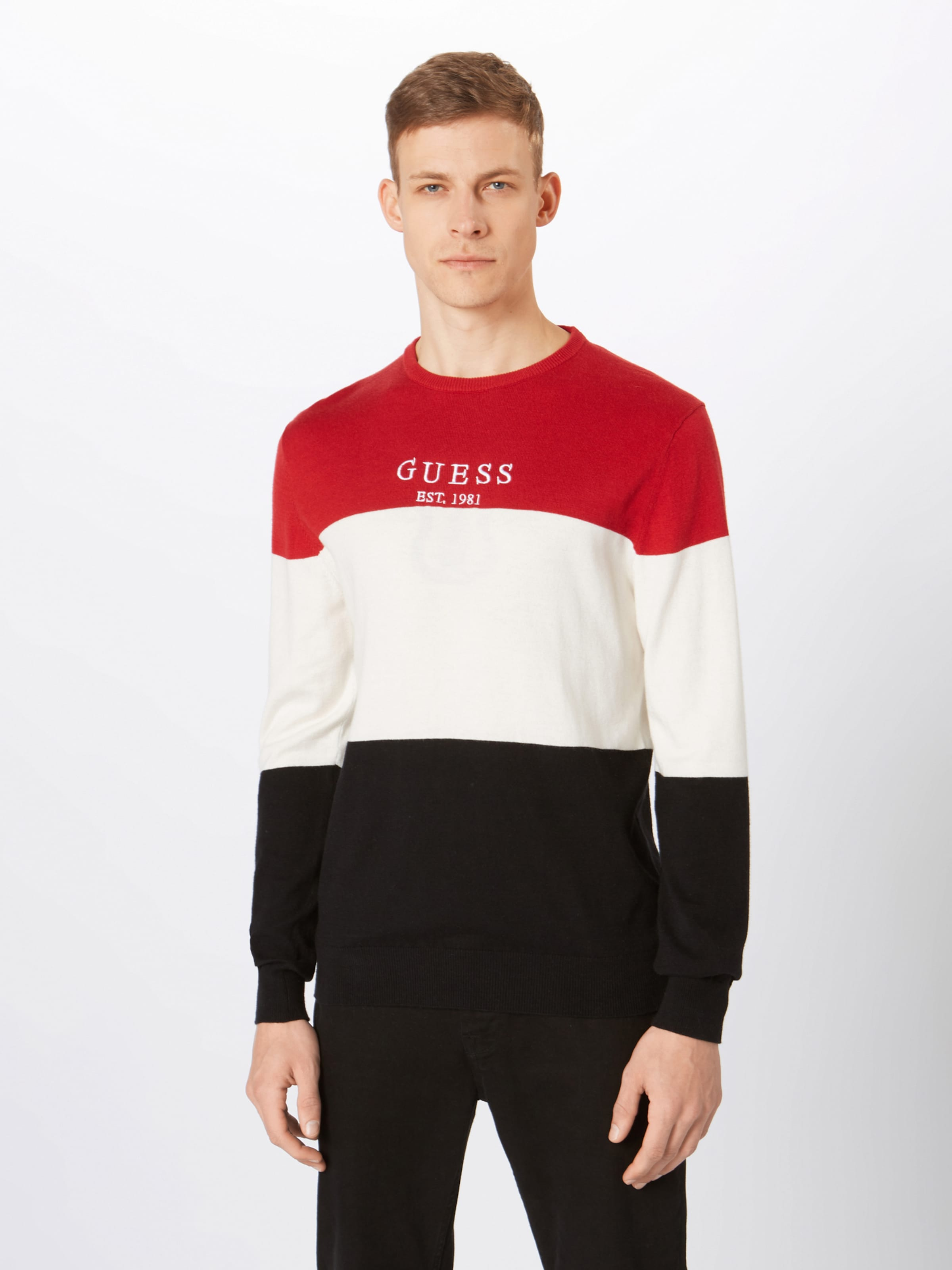 Guess DunkelblauRot In Weiß Guess Shirt HWEIYDbe29