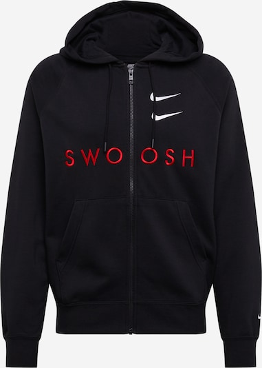 NIKE Sweatjacke  'Swoosh' in rot / schwarz, Produktansicht