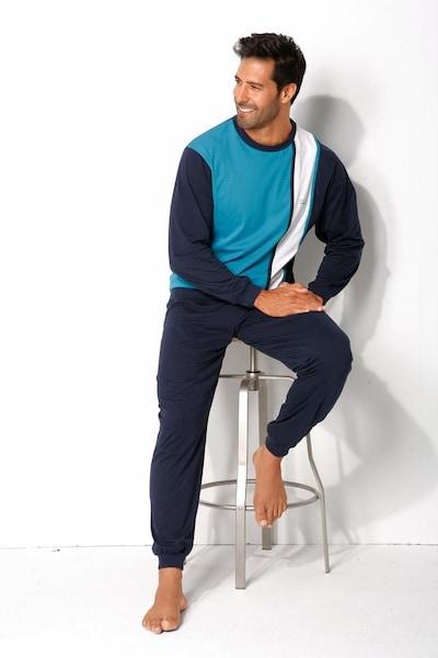 H.I.S Pyjama in navy / türkis / weiß, Modelansicht
