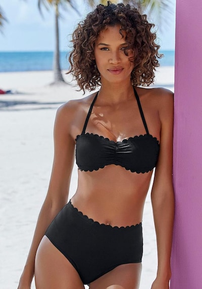 LASCANA Bikini-Top 'Scallop' in schwarz, Modelansicht