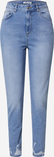 NA-KD Jeans 'distressed hem mom jeans' in de kleur Blauw denim, Productweergave