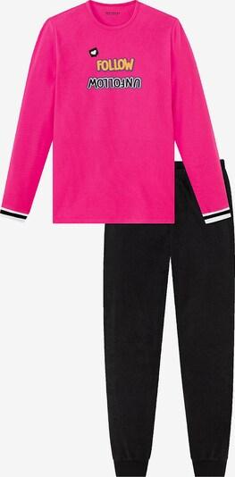 SCHIESSER Schlafanzug in gelb / pink / schwarz, Produktansicht