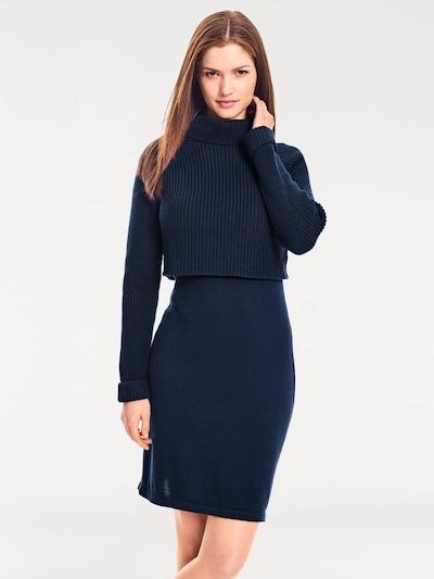 heine Strickkleid mit Strickmix in blau, Modelansicht