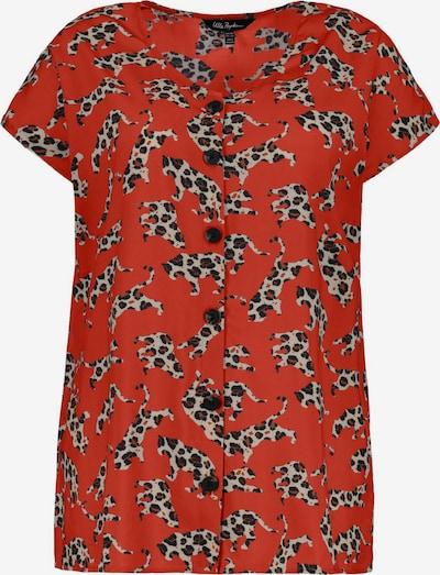 Bluză Ulla Popken pe maro / roșu pastel / negru / alb, Vizualizare produs