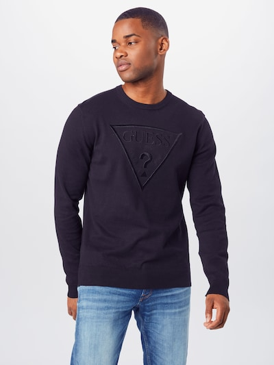 GUESS Sweatshirt 'LS RN RED ROCK' in schwarz: Frontalansicht