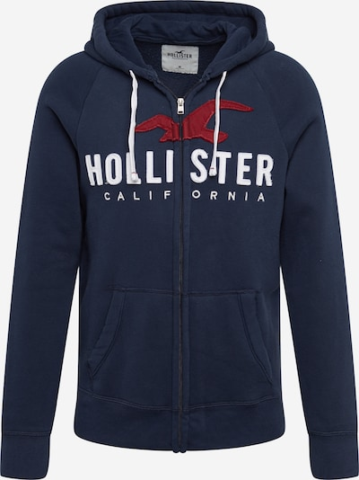 HOLLISTER Sweatjacke 'ICONIC TECH' in navy / weinrot / weiß, Produktansicht