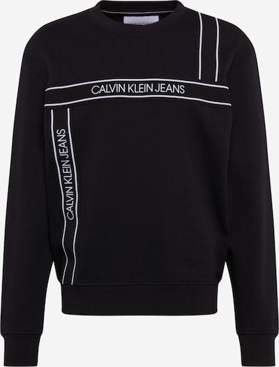 Bluză de molton Calvin Klein Jeans pe negru / alb, Vizualizare produs