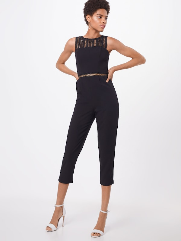 Bardot Overall 'Lace Trim' in schwarz: Frontalansicht