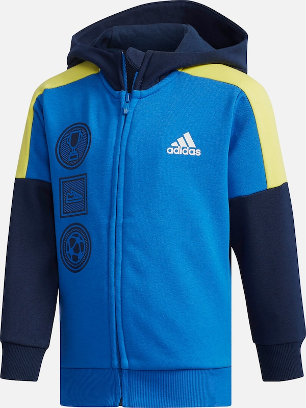 ADIDAS PERFORMANCE Sportsweatjacke in dunkelblau weiß