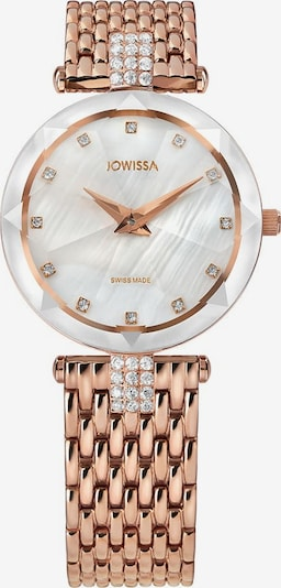 JOWISSA Quarzuhr 'Facet Strass' Swiss Ladies Watch in rosegold / weiß, Produktansicht
