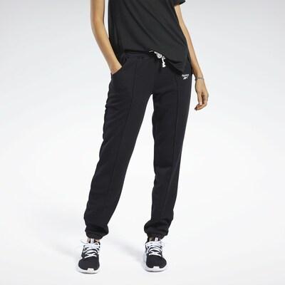 REEBOK Sporthose in schwarz / weiß: Frontalansicht