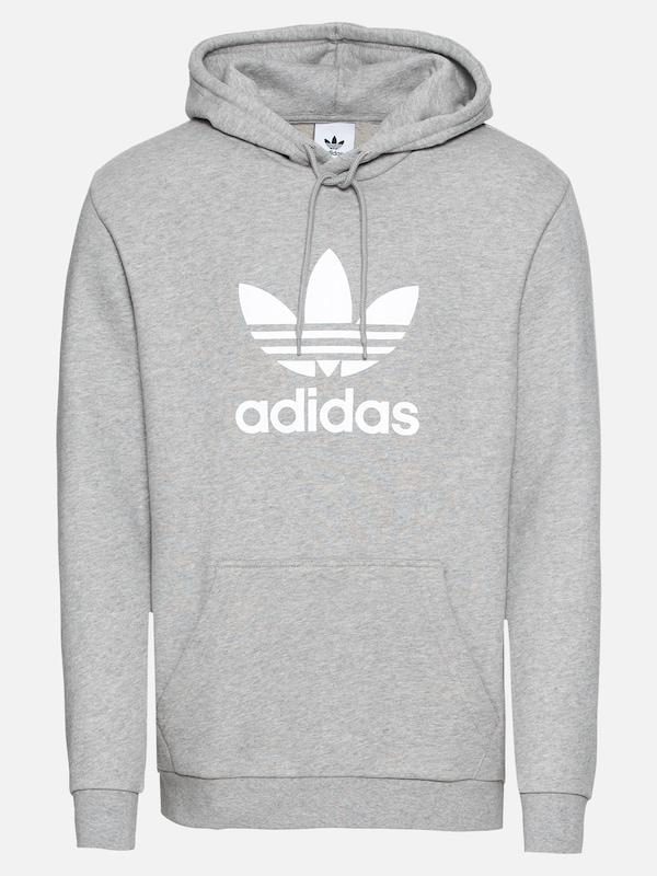 cce2786e388 ADIDAS ORIGINALS Sweatshirt 'Trefoil' in Grijs gemêleerd / Wit | ABOUT YOU