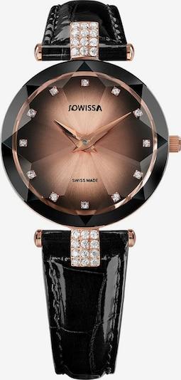 JOWISSA Analoog horloge 'Facet Strass' in de kleur Rose-goud / Zwart, Productweergave