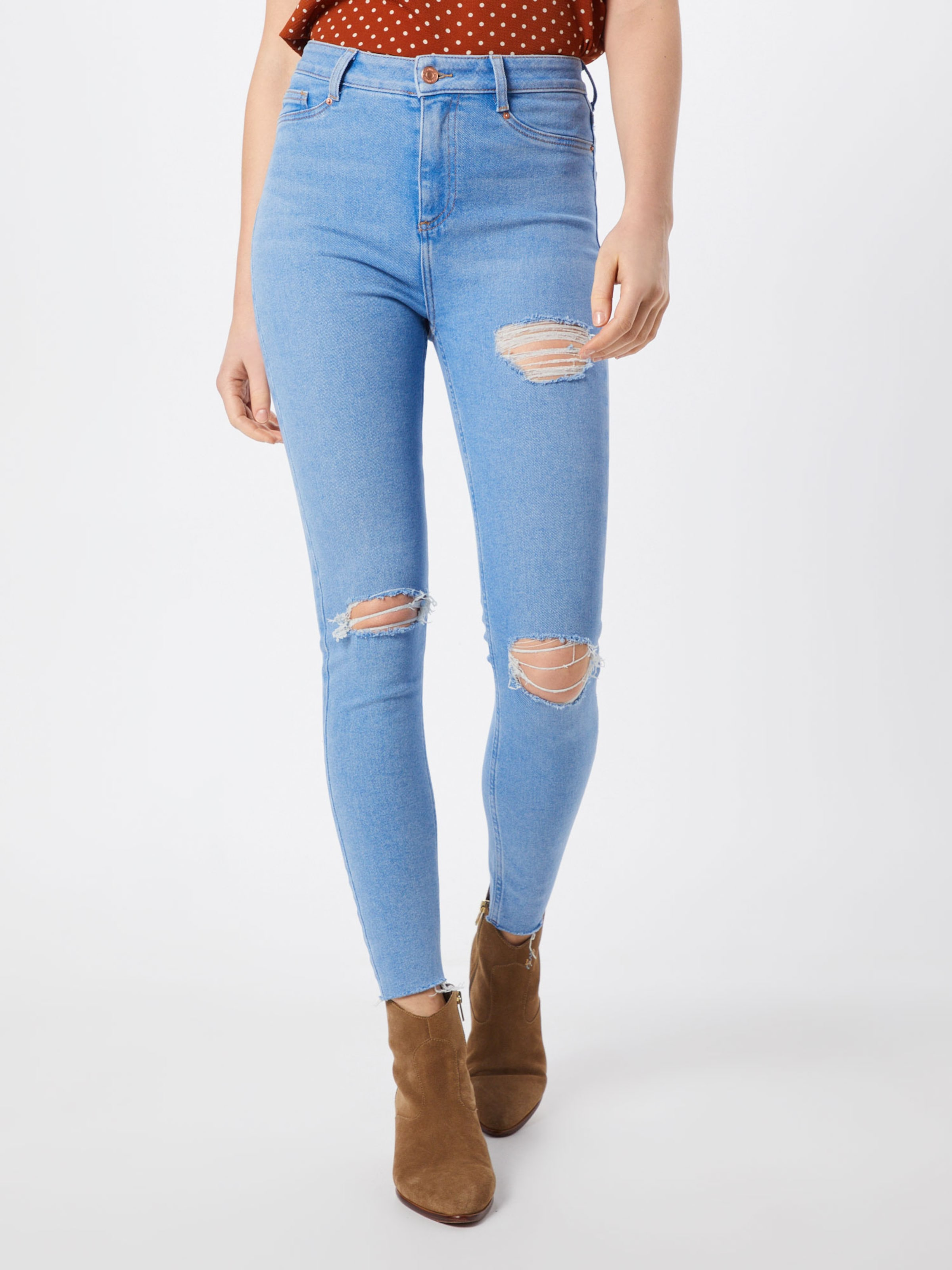 'rosie Denim Jeggings Thigh Blauw Bright New In Look Disco' Gap Rip EWI92DH