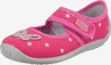 Fischer-Markenschuh Hausschuhe 'Schmetterling' in Pink