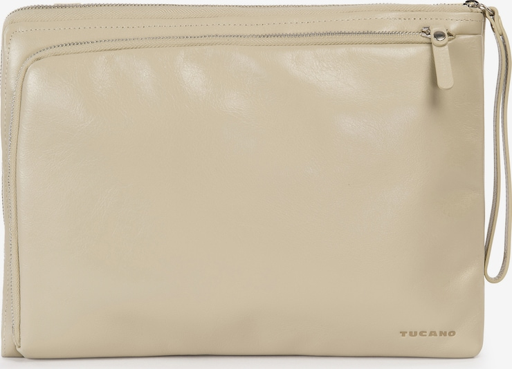 TUCANO Laptoptas 'Leather bag 13 inch' in de kleur Beige / Zilver, Productweergave
