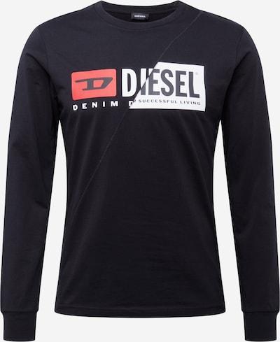 DIESEL Majica 'T-DIEGO' | oranžno rdeča / črna / bela barva, Prikaz izdelka