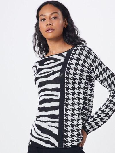 monari Pullover 'Zebra' in schwarz / weiß: Frontalansicht