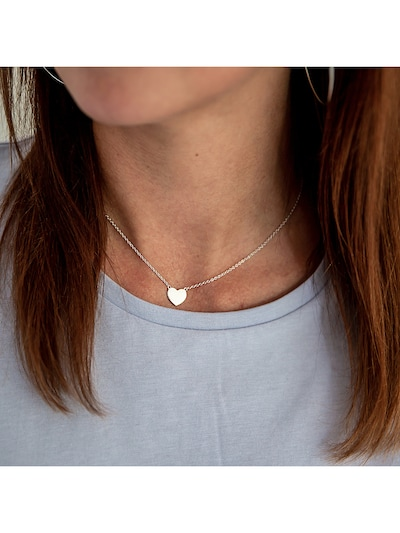 Glanzstücke München Silberkette mit entzückendem Herz-Anhänger in silber: Frontalansicht