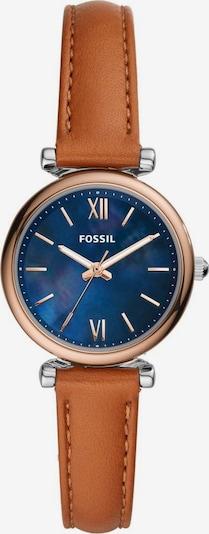 FOSSIL Uhr in blau / cognac / rosegold, Produktansicht