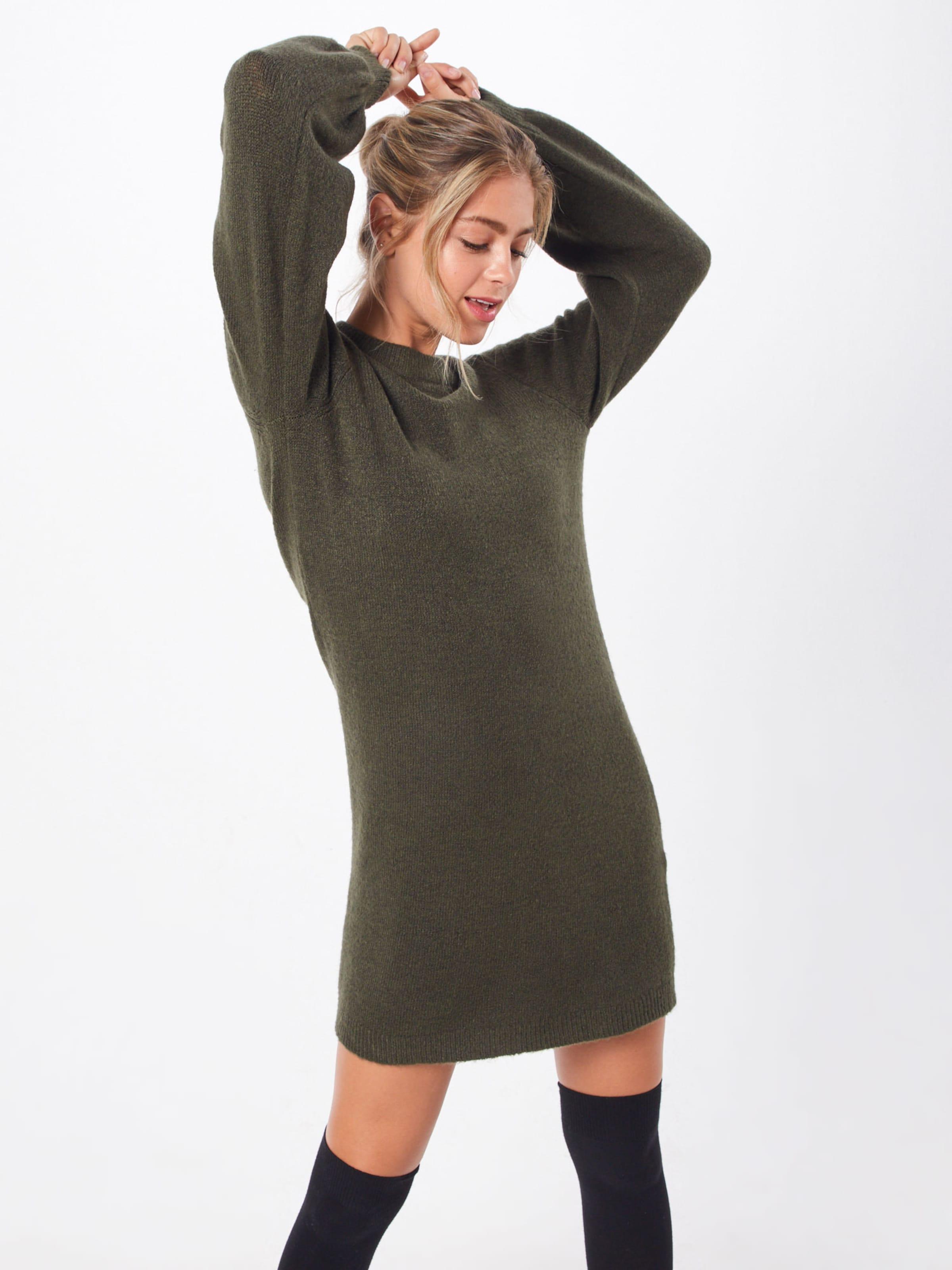 Knit Kleid 'objeve Nonsia L s Dunkelgrün In Object Dress Noos' shdCtQr