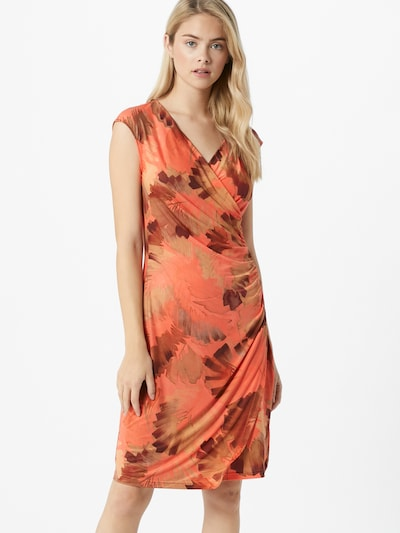 Cartoon Kleid in hellbraun / dunkelbraun / koralle, Modelansicht