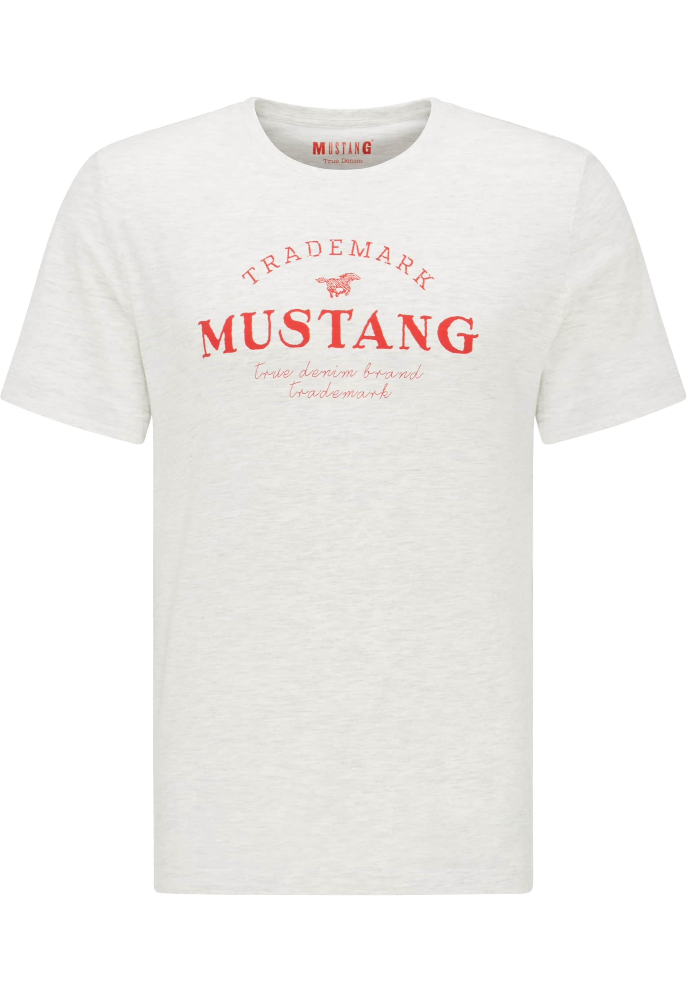 MUSTANG T-Shirt ' Alex C Print ' in grau Unifarben 1009500000010