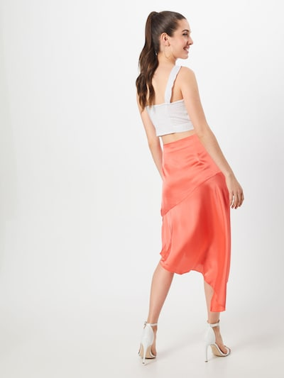 Missguided Rock 'Satin Asymmetric Skirt Coral' in orange: Rückansicht