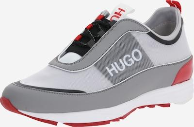 HUGO Trampki niskie 'Hybrid_Runn_Mnpu' w kolorze jasnoszary / czerwonym: Widok z przodu