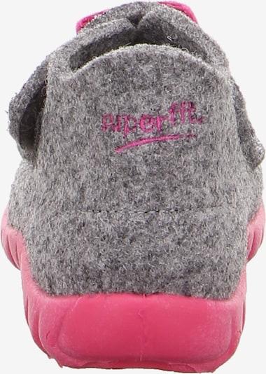 Naminės šlepetės 'Happy' iš SUPERFIT , spalva - pilka / margai rožinė / juoda: Vaizdas iš galinės pusės