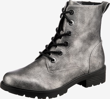 JANE KLAIN Lace-Up Ankle Boots in Silver