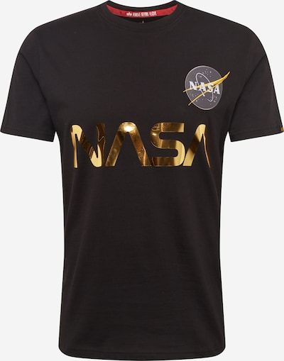 ALPHA INDUSTRIES Shirt 'NASA Reflective T' in gold / schwarz: Frontalansicht