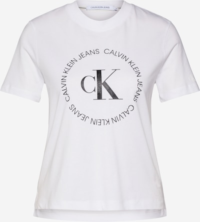 Calvin Klein Jeans Majica 'ROUND' u crna / bijela: Prednji pogled