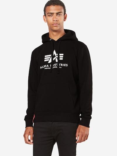 ALPHA INDUSTRIES Sweatshirt 'Basic Hoody' in de kleur Zwart / Wit: Vooraanzicht