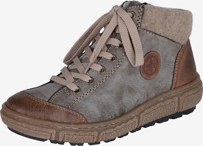 RIEKER Sneakers hoog in de kleur Bruin / Lichtbruin / Grijs: Vooraanzicht
