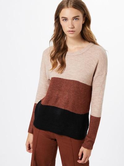 JACQUELINE de YONG Pullover 'ELANORA' in beigemeliert / braun / schwarz, Modelansicht