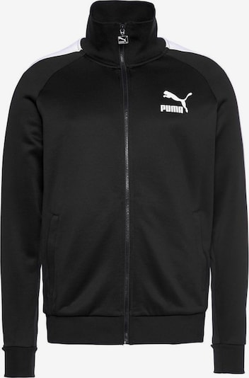 PUMA Veste de sport 'ICONIC T7 TRACK JACKET PT' en noir / blanc, Vue avec produit