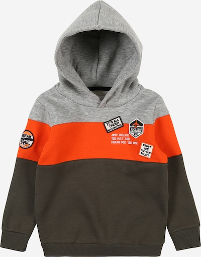 STACCATO Sweatshirt in graumeliert / oliv / knallrot, Produktansicht