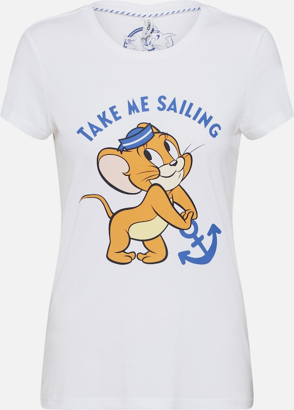ONLY Shirt 'ONLTOM & JERRY LIFE FIT S/S TOP BOX JRS' in weiß, Produktansicht