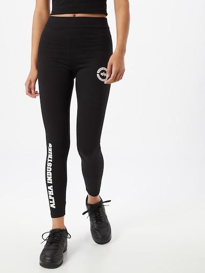 fekete / fehér ALPHA INDUSTRIES Leggings, Modell nézet