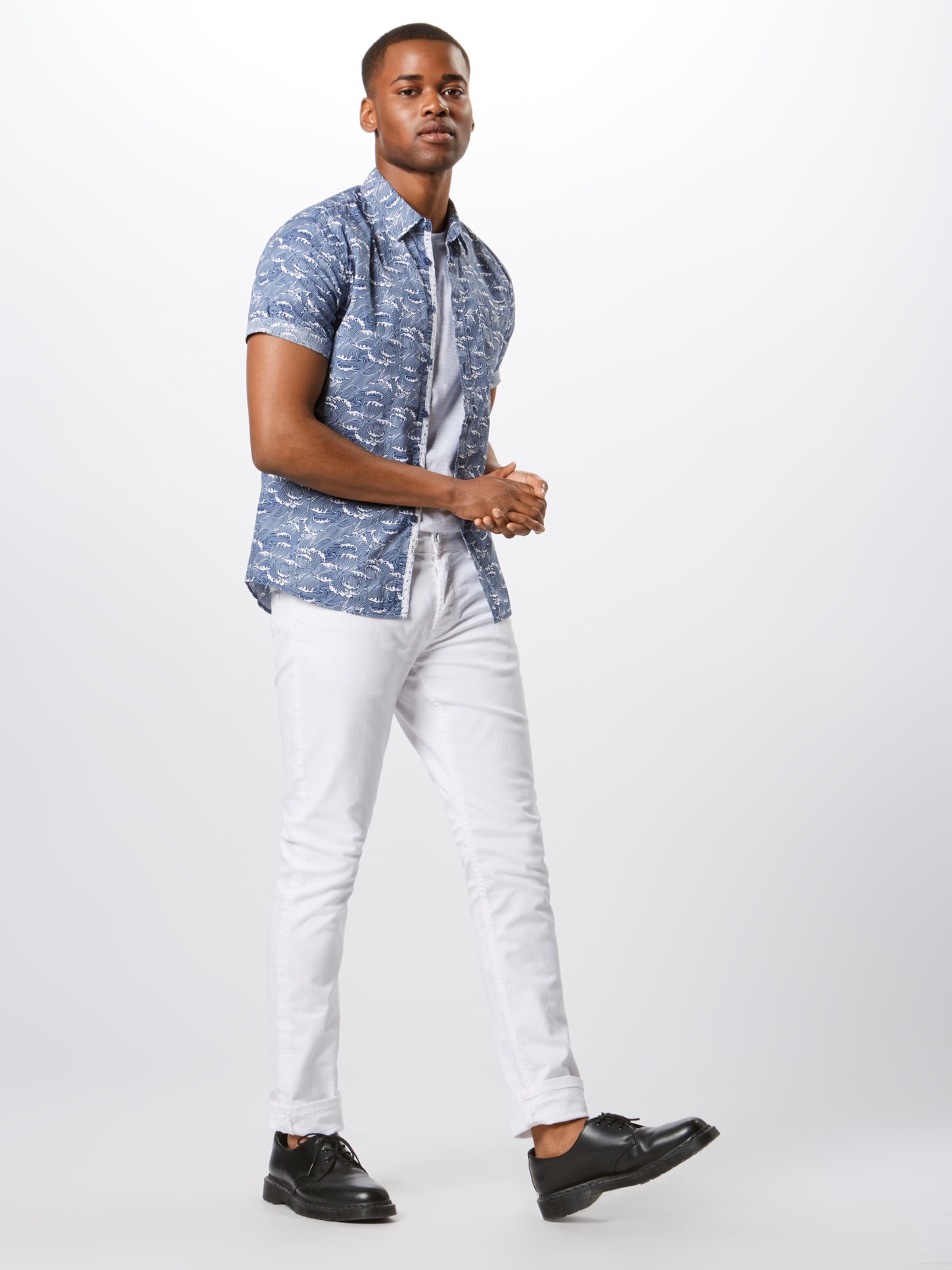 'ahmed' Bleu MarineBlanc Jeans En Indicode Chemise kZuOXPi