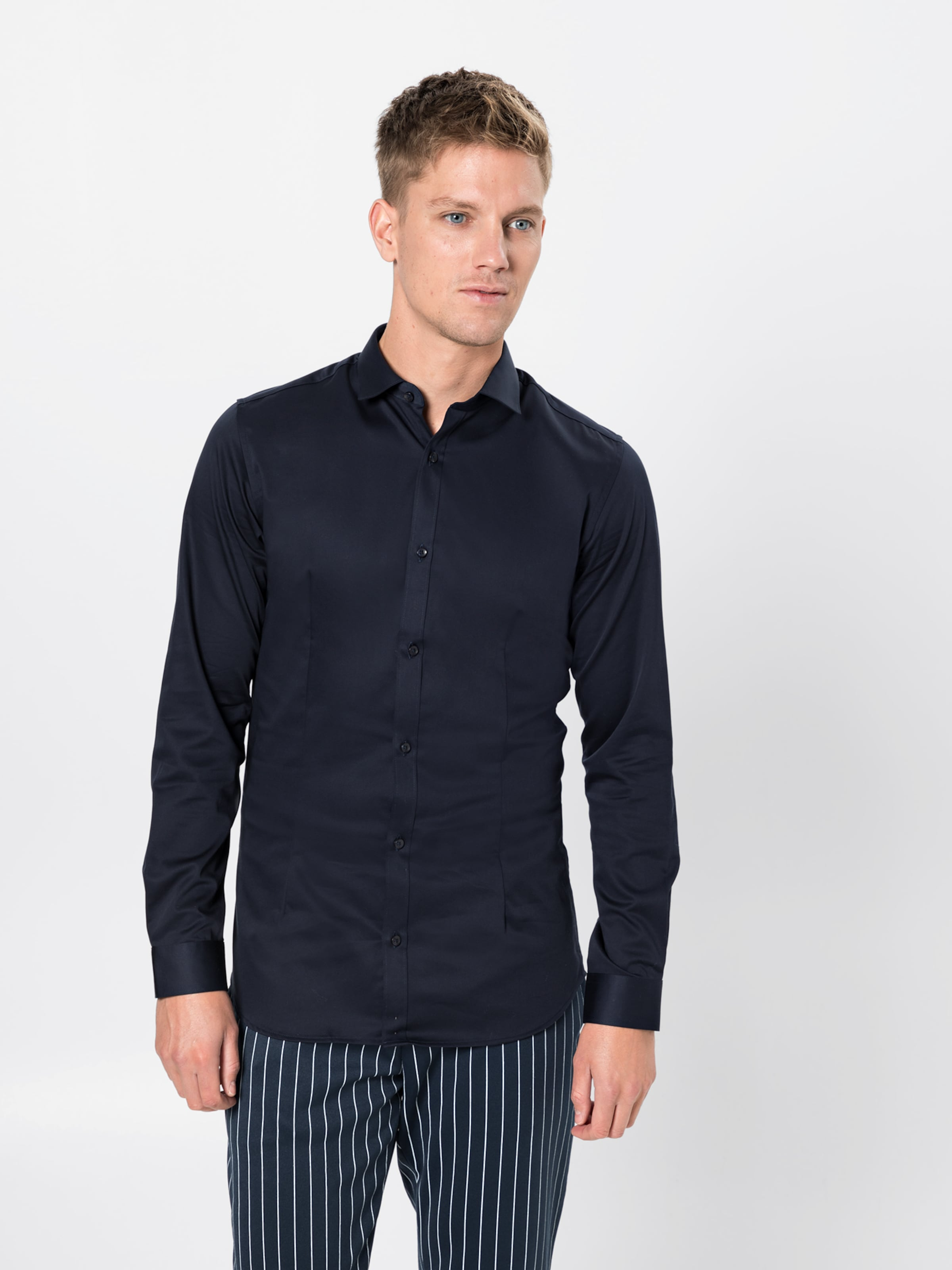 s Noos' Jackamp; 'jjprparma En Business Chemise Bleu Marine Shirt L Jones Tlc13JuFK
