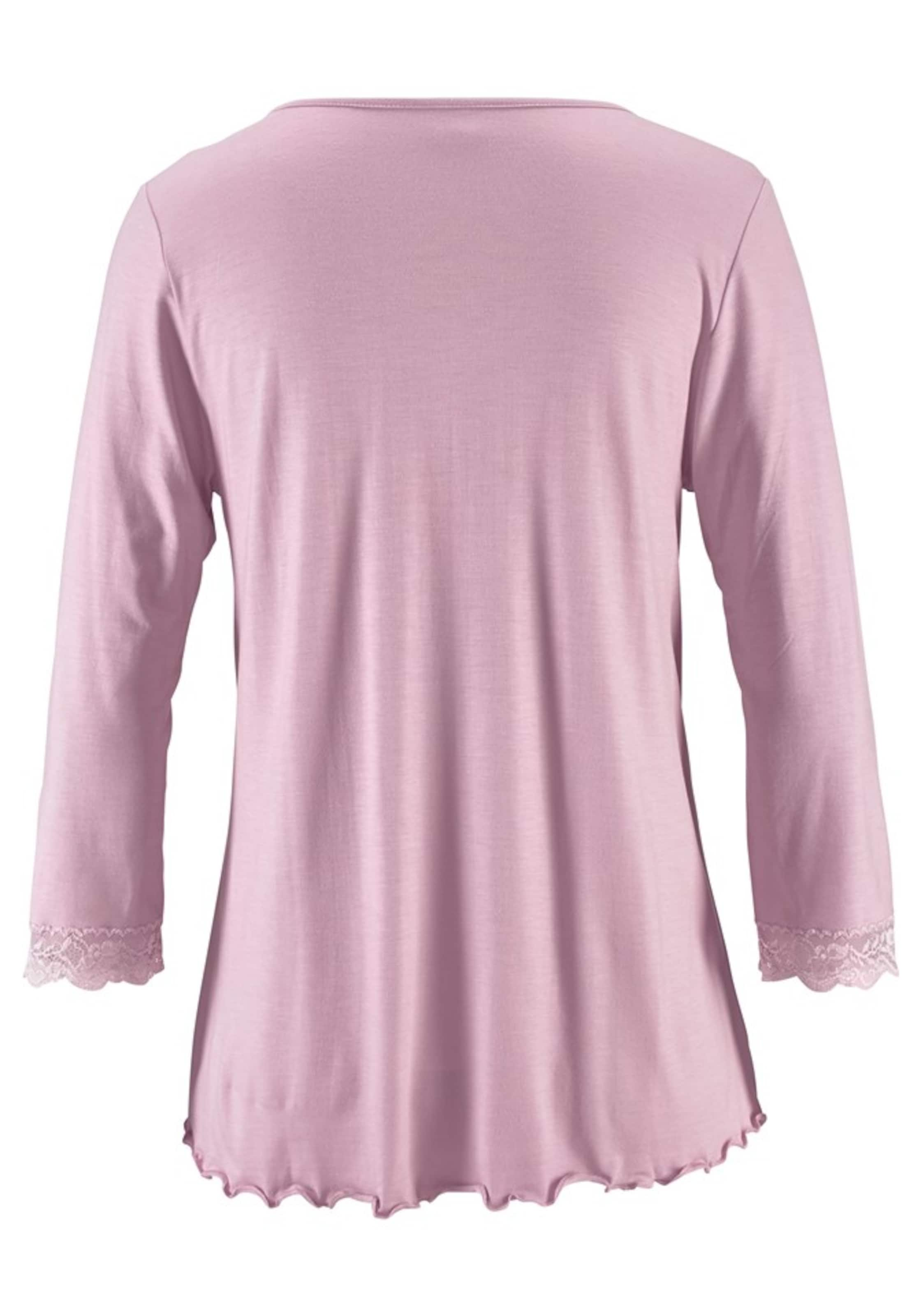 Raffungamp; In Lascana Pyjama Mit Spitzenkante Rosa QroWedCxBE