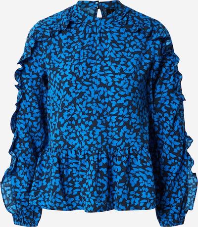 Vero Moda Petite Blouse 'VMLEISE L/S FRILL TOP KAAR PETITE' in de kleur Blauw / Zwart, Productweergave