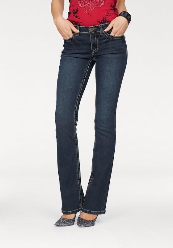 ARIZONA Bootcut-Jeans mit Kontrastnähten  und Pattentaschen