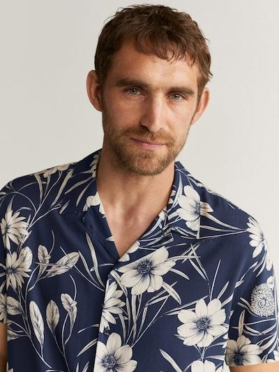 MANGO MAN Overhemd in de kleur Donkerblauw / Wolwit, Productweergave
