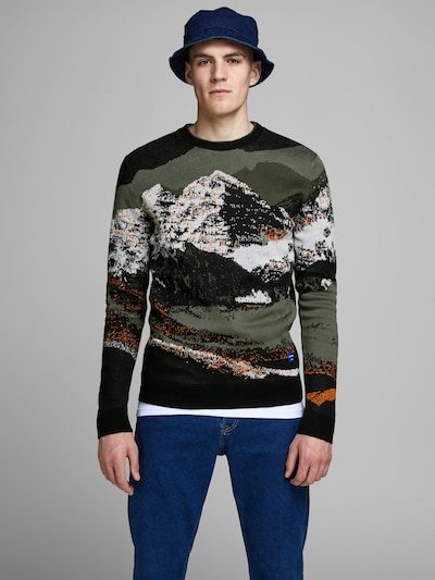 JACK & JONES Pull-over en vert / orange foncé / noir / blanc: Vue de face