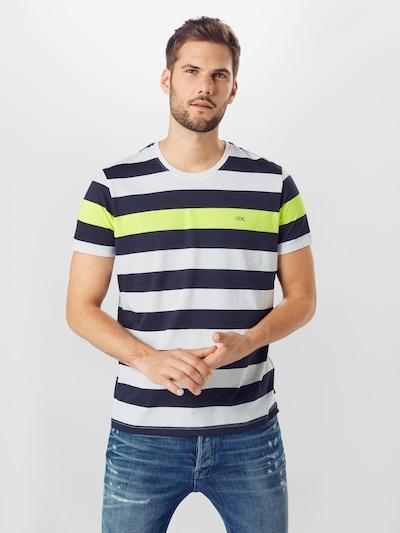 Tricou EDC BY ESPRIT pe albastru închis / limetă / alb: Privire frontală